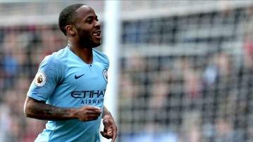 Manchester City's Raheem Sterling celebrates scoring his side's second goal of the game during the Premier League match at Selhurst Park, London.