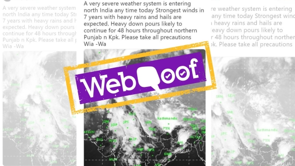 A viral message claimed that a severe weather system will hit India, witnessing the strongest winds in seven years.