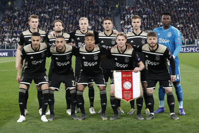 Ajax team poses for photographers prior to the start of the Champions League quarter final, second leg soccer match between Juventus and Ajax, at the Allianz stadium in Turin, Italy, Tuesday, April 16, 2019.