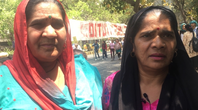 Widows and sisters from Badarpur, Susheel (left) and Sumitra.
