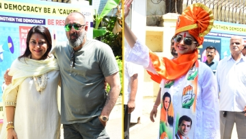 Sanjay Dutt, Priya Dutt and Urmila Matondkar at the collector's office in Mumbai.