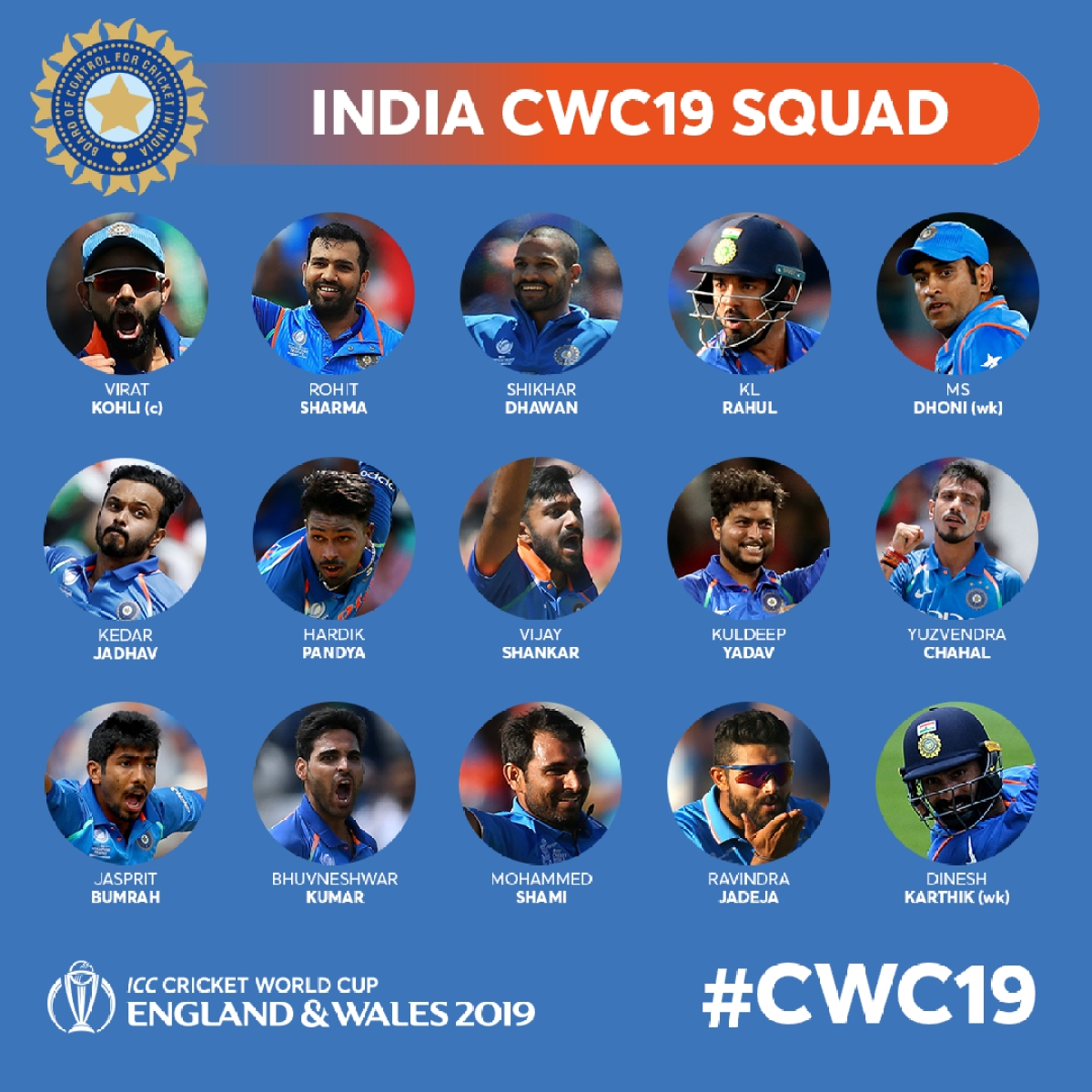 india s squad for the icc cricket world cup 2019