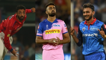 Varun Chakaravarthy, Jaydev Unadkat and Axar Patel during the 2019 Indian Premier League.