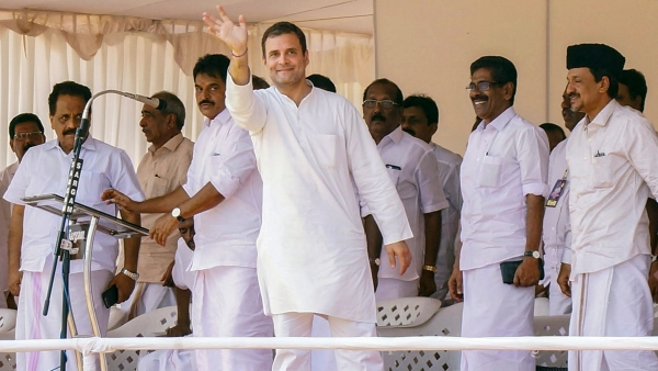 Congress President Rahul Gandhi waves to the crowd during an election campaign rally Lok Sabha polls, at Batheri in Wayanad, Wednesday, April 17, 2019. Gandhi is contesting election from the Wayanad.