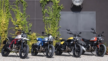 From left to right: Ducati Scrambler Desert Sled, Ducati Scrambler Cafe Racer, Ducati Scrambler Full Throttle & Ducati Scrambler Icon.