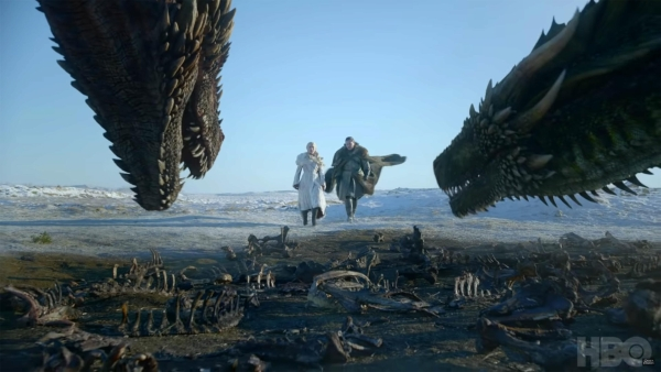 Daenarys and Jon take a ride on the dragons.