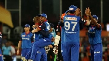 Delhi Capitals celebrate their victory over Sunrisers Hyderabad on Sunday.