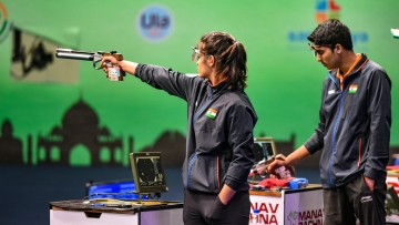 Manu Bhaker and Saurabh Chaudhary during their 10m Air Pistol Mixed Team of the ISSF World Cup in Delhi.