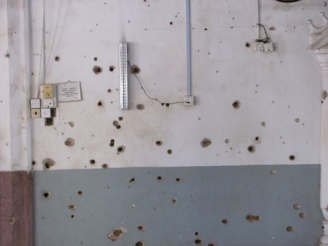 Bullet holes from the Kattankudy Mosque massacre.