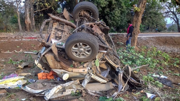 Mangled remains of a vehicle after a BJP convoy was attacked by the Maoists in Dantewada district of Chhattisgarh.