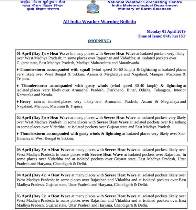 Screenshot of the warning bulletin issued by the IMD