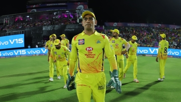 CSK skipper MS Dhoni during the final over no-ball argument with the umpires.
