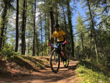 Shimla: Cyclist in action as he takes part in 8th edition of Hero MTB Himalaya Shimla 2019, in Shimla, on April 21, 2019. (Photo: IANS)