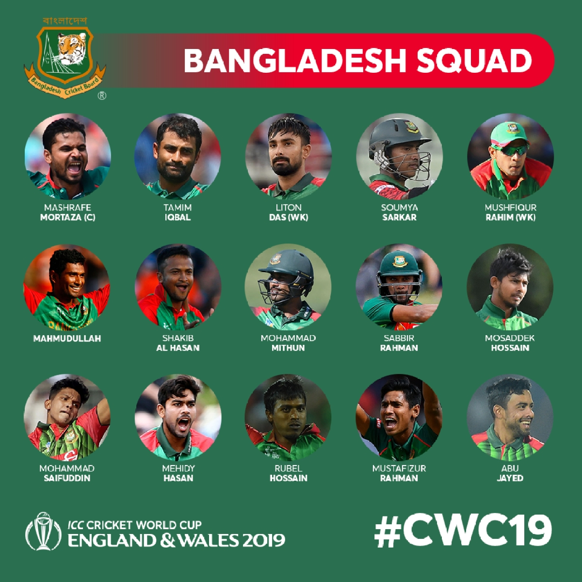 bangladesh s squad for the icc cricket world cup 2019