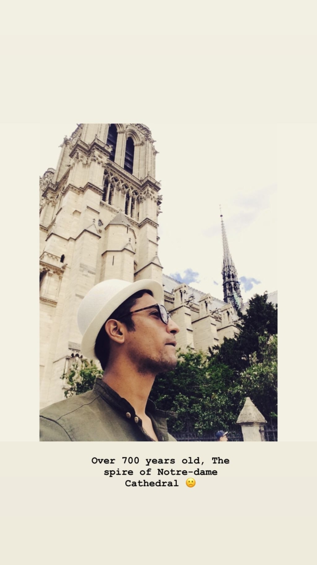 Vicky Kaushal visiting the Notre Dame in Paris.
