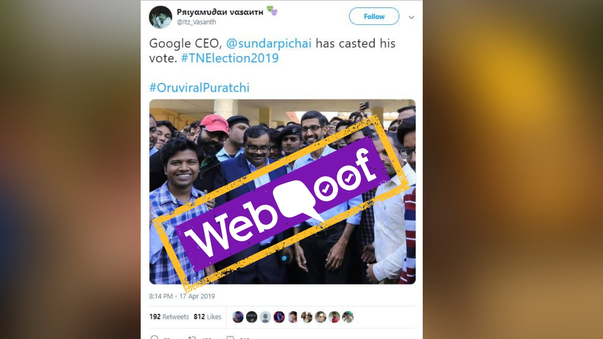 No, Sundar Pichai Did Not Cast His Vote from TN for 2019 LS Polls