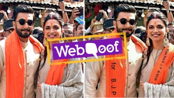 A doctored image of Ranveer Singh and Deepika Padukone campaigning for PM Modi has been doing the rounds.