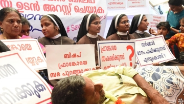 Nuns stage a demonstration to press for action against Bishop Franco Mulakkal.