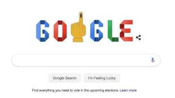 Google customises a doodle for the second phase of polling for Lok Sabha Elections 2019.