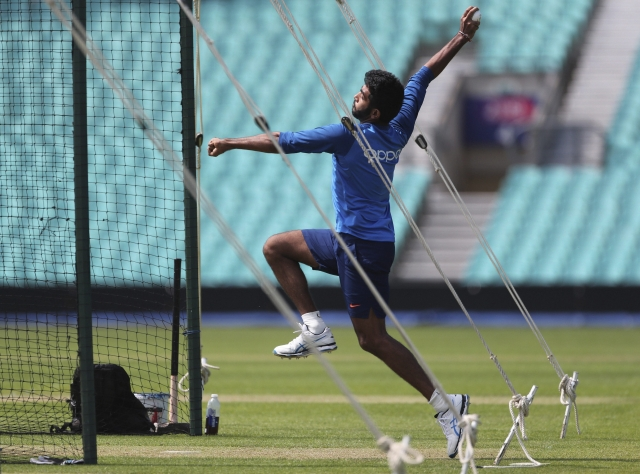 Jasprit Bumrah bowls in the nets during a training session at The Oval in London, Thursday, May 23, 2019.