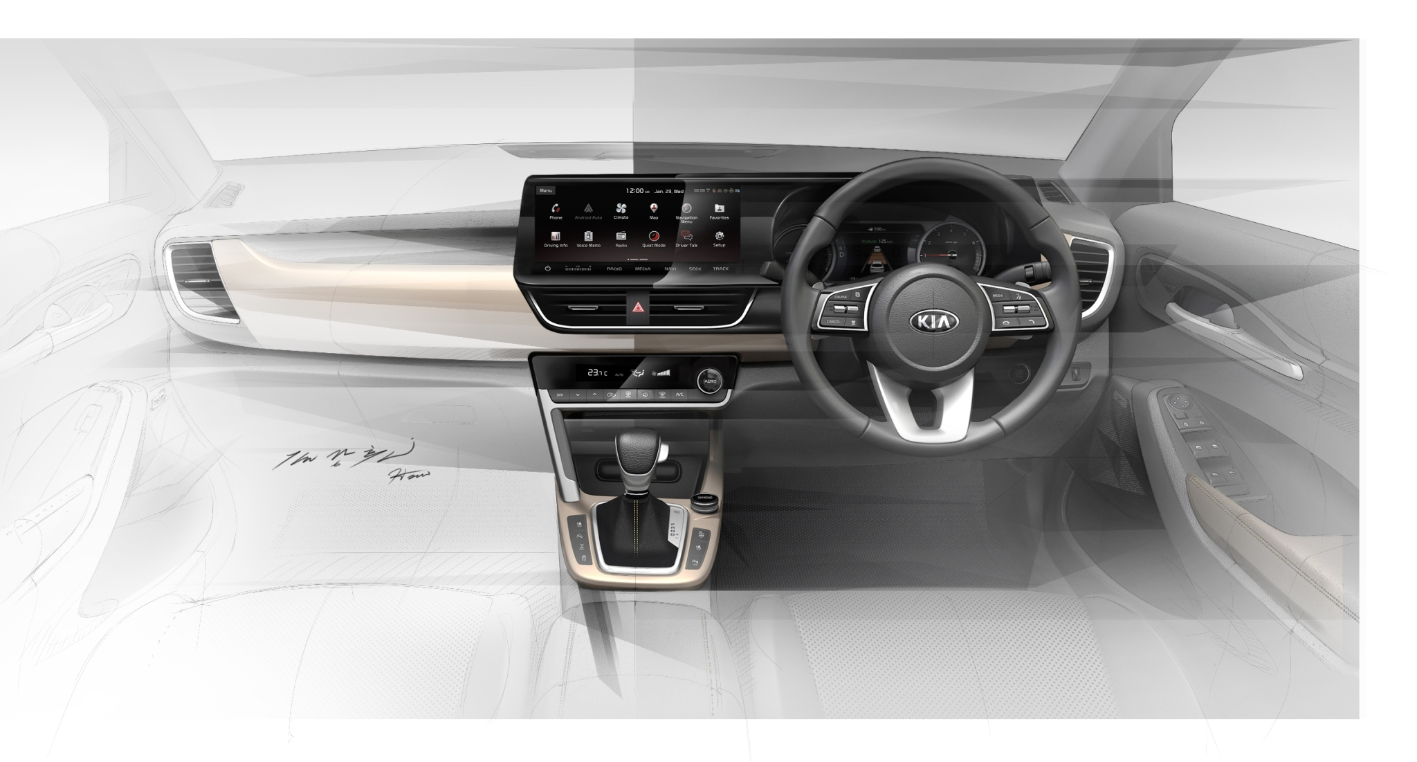 Upcoming 2019 Kia SP SUV Interiors Revealed via Sketches