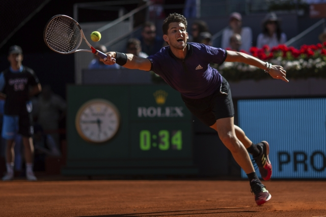 Dominic Thiem in action during his Madrid Open game against Roger Federer.