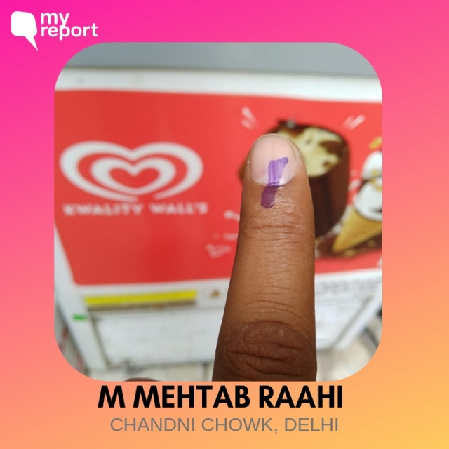 M Mehtaab Raahi cast his vote from Chandni Chowk.