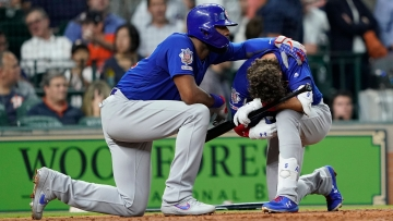 Cubs outfielder Albert Almora Jr. hit a line drive in the fourth inning into the field-level stands down the third base line, where it hit the girl.
