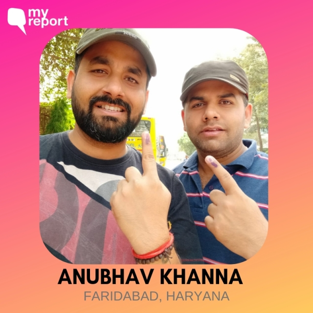 Anubhav Khanna and his friend click a selfie after casting their vote from Faridabad.