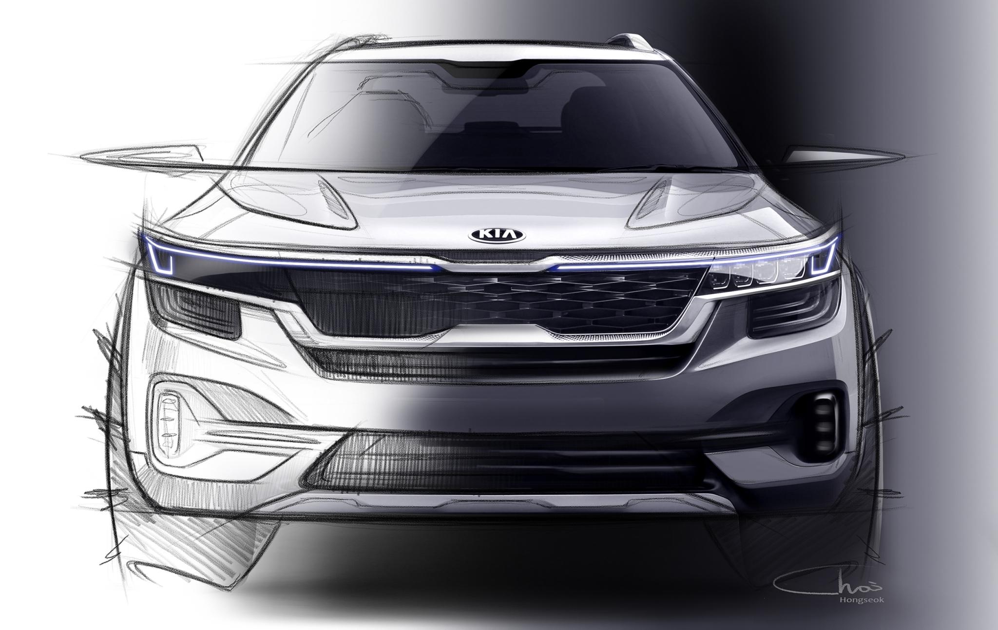Kia Reveals Design of SP Concept-Based SUV in Sketches