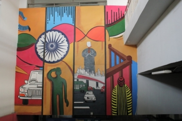 Karkarduma Metro Station references the judicial system in its artworks. (Photo Credit: DMRC)
