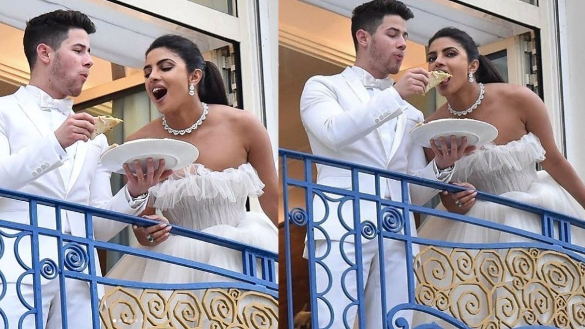 Priyanka and Nick Enjoy a Pizza at their Hotel Balcony In Cannes