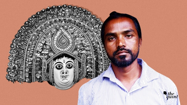 Image of Jeetrai Hansda, the tribal professor and activist who was arrested recently, and a Chau mask, used for representational purposes.