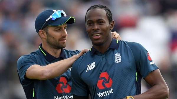 England's Mark Wood and Jofra Archer during the ODI series against Pakistan.