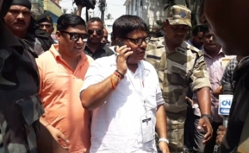 Barrackpore: BJP candidate for Barrackpore Lok Sabha seat, Arjun Singh during the fifth phase of 2019 Lok Sabha elections in Barrackpore of West Bengal