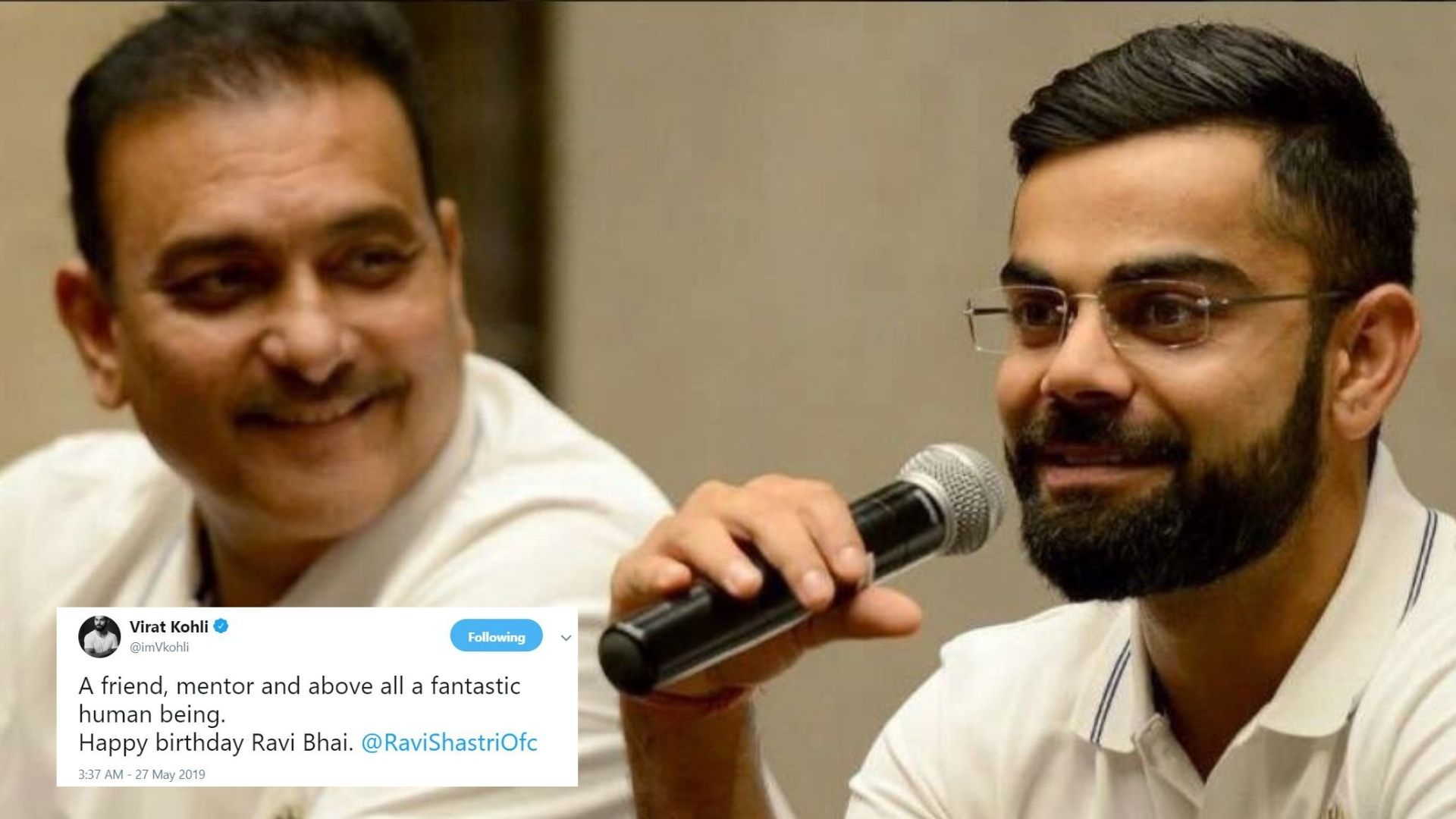 Captain Kohli Leads the Line for Coach Shastri's Birthday Wishes