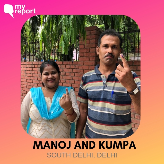 Manoj and Kumpa show off their inked finger.