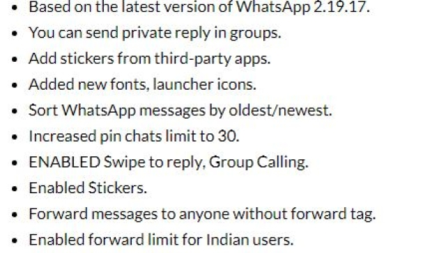 Extra features offered in GBWhatsApp.