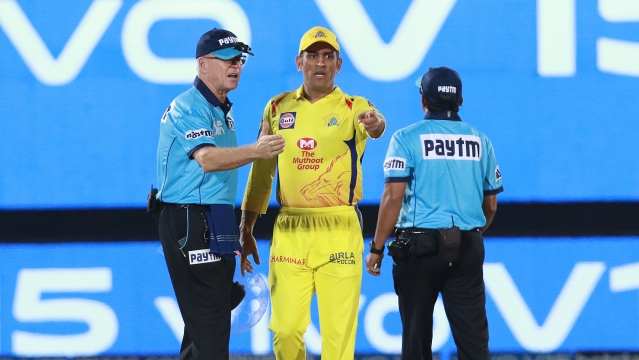 MS Dhoni charged into the playing field after the umpires overturned a no ball call in the final over CSK's league game against RR.