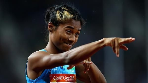 Hima Das, who was a doubtful starter despite being named in the team after her lower back injury during the Asian Championships, ran the first leg.