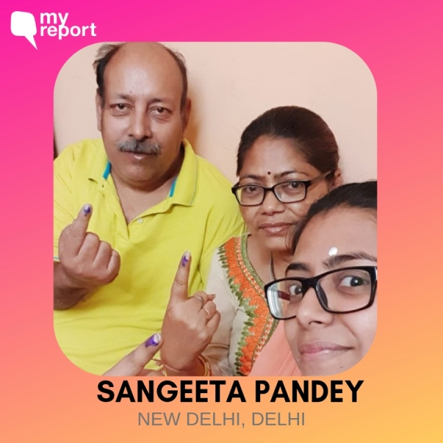 Sangeeta Pandey from New Delhi shares an inkfie with her parents.