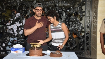 Aamir Khan with Kiran Rao on his birthday.
