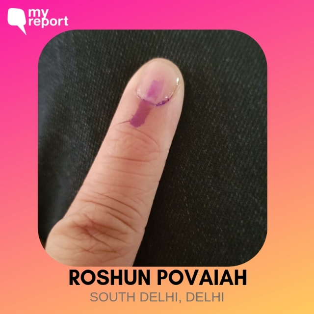 """The mandatory inkfie of democracy,"" The Quint's Roshun Povaiah captioned the photo."