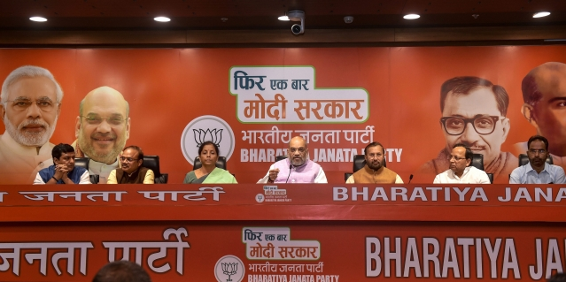 BJP President Amit Shah addresses a press conference at BJP headquarters, in New Delhi.