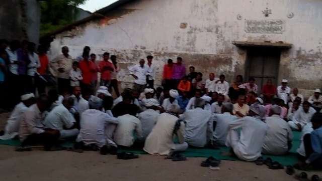 The non-Dalit villagers of Lhor Village in Mehsana assembled at the village square where the decision to boycott their lower caste neighbours was taken on 8 May.