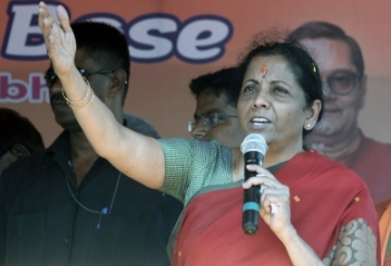 Kolkata: Defence Minister Nirmala Sitharaman addresses at an election campaign in support of BJP