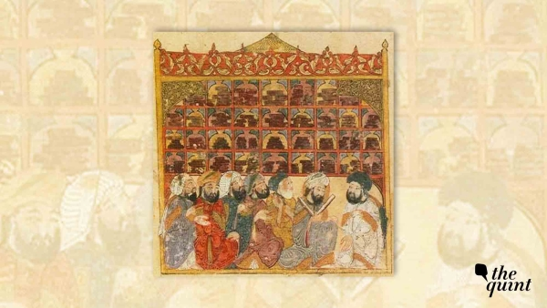 Scholars at an Abbasid library, from the Maqamat of al-Hariri by Yahya ibn Mahmud al-Wasiti, Baghdad, 1237 CE. Picture used for representation of Islamic Golden Age.