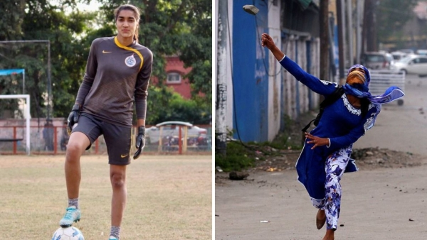 A photo of Afshan (right) had gone viral on social media in December 2017 where she was seen throwing a stone at the Jammu and Kashmir police.