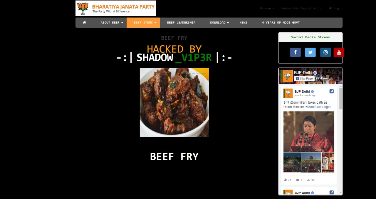 BJP Delhi Website Hacked, Served With Beef As PM Modi Takes Oath