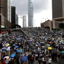 Thousands of protesters gather outside the Legislative Council in Hong Kong on 12 June 2019.